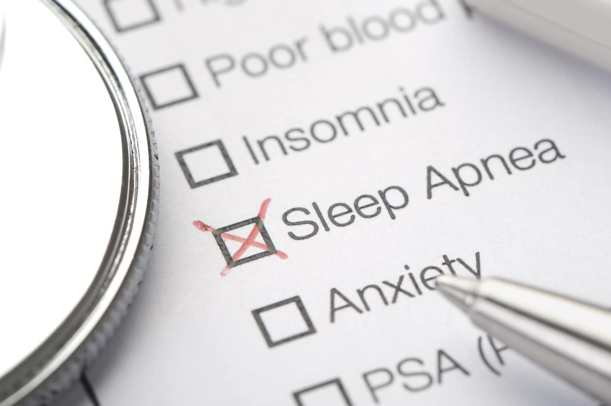 check list with disorders and sleep apnea checked