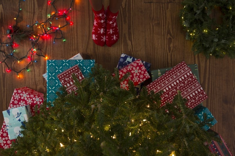 Presents under a holiday tree.